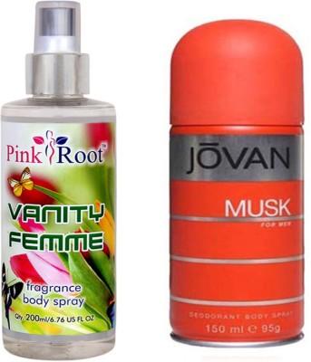 Jovan Orange Musk for Men 150ml and Pink Root Vanity Femme Fragrance body Spray 200ml Pack of 2(Set of 2)  available at flipkart for Rs.490