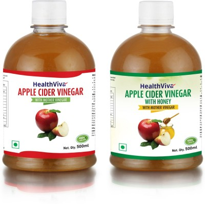 HealthViva With 'The Mother' Combo - Natural, Raw, Unfiltered Apple Cider Vinegar(2x250 ml, with mother, with honey Flavored)