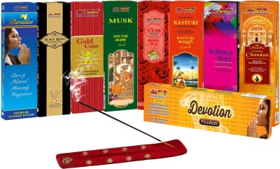 SLM CLASSIC COLLECTION Incense sticks Combo Pack of 9 - Paradise, Black king, Gold Coin, Sandal,Rose, Woods, Elegance, Amber, Magical Feather FLORA INCENSE FRAGRANCE Agarbattis( )  available at flipkart for Rs.130