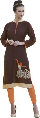 Saara Women Solid, Embroidered Straight Kurta(Brown)