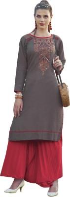 Saara Women Solid, Embroidered Straight Kurta(Beige)