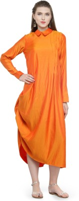 Natty India Women Solid A-line Kurta(Orange)