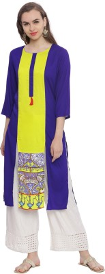 Avaana Women Solid Straight Kurta(Blue)