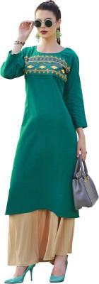 Saara Women Solid, Embroidered Straight Kurta(Green)
