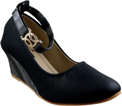 Mega Steps Women Black Wedges
