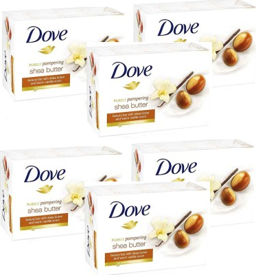 Dove Shea Butter Cream Bathing Bar (Pack of 6, Imported, Made in EU)(135 g, Pack of 6)