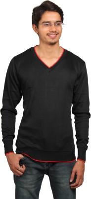 leebazone Solid V-neck Casual Men's Black Sweater