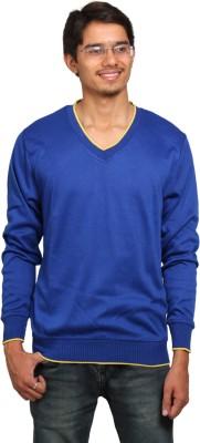 leebazone Solid V-neck Casual Men's Blue Sweater