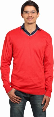 leebazone Solid V-neck Casual Men's Red Sweater