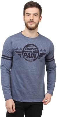 HUSTLE ROADIES Printed Men's Round Neck Blue T-Shirt