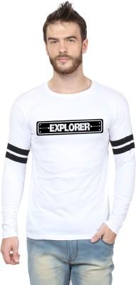 HUSTLE ROADIES Printed Men's Round Neck White T-Shirt