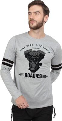 HUSTLE ROADIES Printed Men's Round Neck Grey T-Shirt