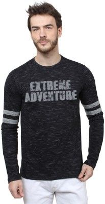 HUSTLE ROADIES Printed Men's Round Neck Black T-Shirt