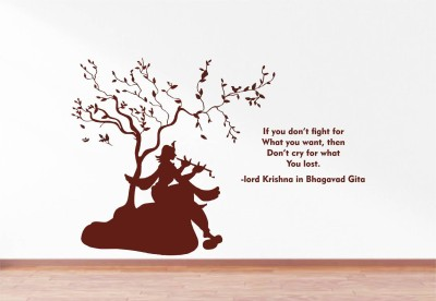 Rawpockets Lord Krishna Playing Flute and Bhagavad Gita Quote(70 cm X cm 105, Multicolor)  available at flipkart for Rs.199