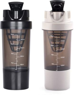 HAANS Cyclone Shakers Combo(set of 2) 1000 ml Shaker(Pack of 2, Black, Grey)