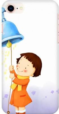 AMEZ Back Cover for Apple iPhone 8(Multicolor,Cute Child Winter Girl Playing Ringing Bell, Plastic)
