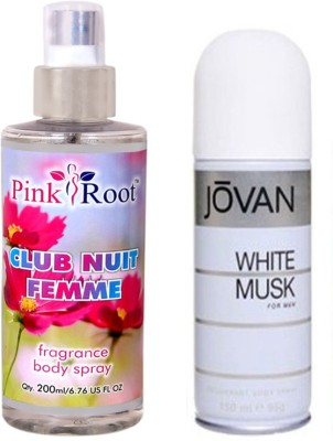 Jovan White Musk for Men 150ml and Pink Root Club Nuit Femme Fragrance body Spray 200ml Pack of 2(Set of 2)  available at flipkart for Rs.490