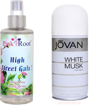 Jovan White Musk for Men 150ml and Pink Root High Street Gals Fragrance body Spray 200ml Pack of 2(Set of 2)  available at flipkart for Rs.490
