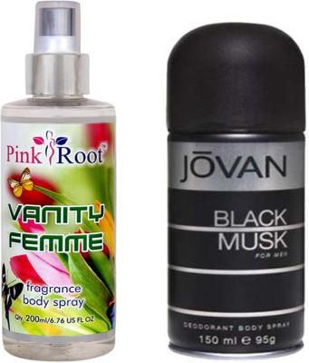 Jovan Black Musk for Men 150ml and Pink Root Vanity Femme Fragrance body Spray 200ml Pack of 2(Set of 2)  available at flipkart for Rs.490