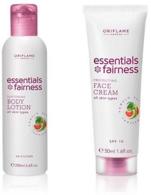 Oriflame Sweden Essential Fairness Protecting Face Cream SPF 10 & Softening Body Lotion UV Filters(Set of 2)  available at flipkart for Rs.320