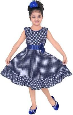 Singham Girls Midi/Knee Length Casual Dress(Blue, Sleeveless)