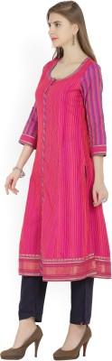 Biba Striped Women Straight Kurta(Pink)