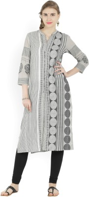 Biba Self Design Women Straight Kurta(Grey)