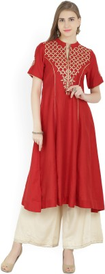 Biba Embroidered Women Flared Kurta(Red)