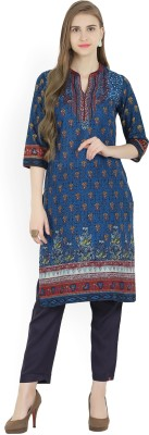 Biba Printed Women Straight Kurta(Blue)