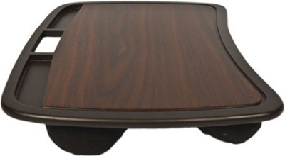 Kebica 4 Compartments Wooden Revolving Desk Organizer(Brown)