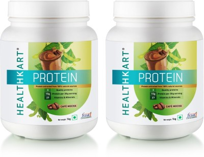 HealthKart 50% Protein with Whey & Casein, 1kg, Café Mocha, Pack of 2 Protein Blends(1 kg, Cafe Mocha)