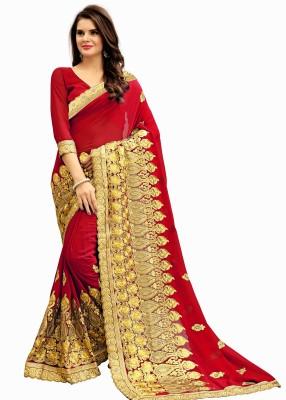 Rudra Fashion Embroidered Fashion Georgette Saree(Red) Flipkart