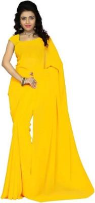 MOSSMOOR Self Design Banarasi Poly Silk Saree(Yellow)