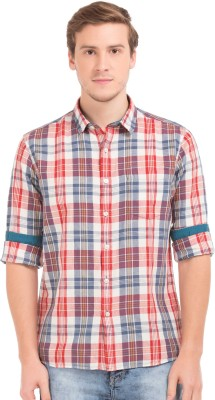 Flying Machine Men Checkered Casual Red Shirt at flipkart