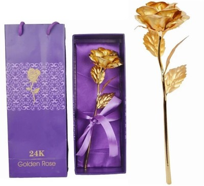 Touch India 24 K Gold Rose with Gift Box and Carry Bag and Message Bottle/Valentine Romantic golden Love couple Statue /Home Decoration Gift Item/Anniversary Gift/Birthday Gift/Gift for love one/Girl friend gift/Boy friend gift Decorative Showpiece  -  23 cm(Brass, Multicolor)
