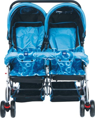 MeeMee Comfortable Twin Baby Pram with 3 seating position (Blue) Twin Strollers & Prams(3, Blue)