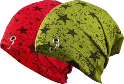 waymakers Solid, Printed, Self Design, Checkered skull cap, ring cap, cotton cap, beanie cap, winter cap Cap(Pack of 2)