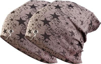 waymakers Solid, Printed, Checkered, Graphic Print winter cap, skull cap, beanie cap, ring cap, printed cap, fashion cap, cotton cap Cap(Pack of 4)
