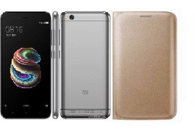 Mobizworld Flip Cover for Mi Redmi 5A Gold
