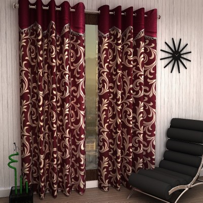 Home Sizzler 153 cm (5 ft) Polyester Window Curtain (Pack Of 2)(Floral, Maroon)