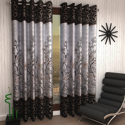 Home Sizzler 214 cm (7 ft) Polyester Door Curtain (Pack Of 2)(Floral, Brown)