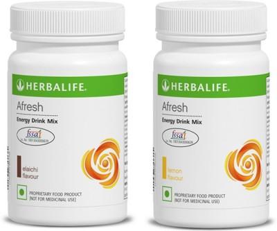 Herbalife Afresh Energy Drink -lemon-ilaichi - Pack of 1 each Energy Drink(2x50 g, lemon-ilaichi Flavored)