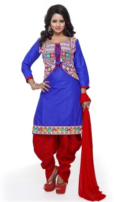Fashion Ritmo Cotton Embroidered, Self Design Salwar Suit Dupatta Material(Un-stitched)