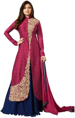 AnK Poly Silk Embroidered Salwar Suit Material(Semi Stitched)