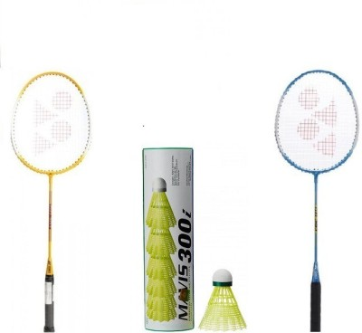 Yonex Combo of Three,Two 'GR 303' Badminton Racket and 1 Box of 'Mavis 300i' Shuttle cock (pack of 6)(Color On Availability)- G3 Strung(Multicolor, Weight - 90 g)  available at flipkart for Rs.1610