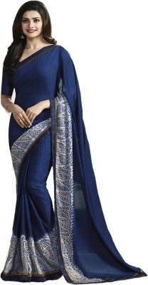 HashTag Fashion Solid, Applique, Paisley, Woven, Polka Print, Hand Painted, Striped, Printed, Checkered, Digital Prints, Floral Print, Embellished, Plain, Geometric Print, Graphic Print, Self Design Bollywood Georgette Saree(Blue)