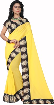 Prabhas Plain Daily Wear Faux Georgette Saree(Yellow, Black) Flipkart