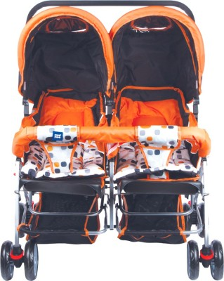 MeeMee Comfortable Twin Baby Pram with 3 seating position (Orange) Twin Strollers & Prams(3, Orange)