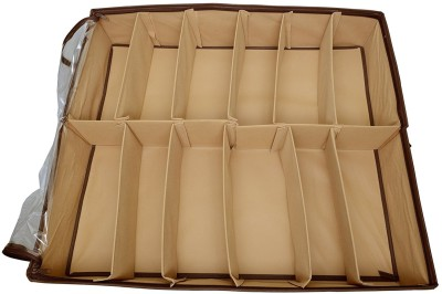 Lifestyle-You Premium Quality Under the bed shoe organiser box for 12 Pairs. Shoe Rack.(Brown)