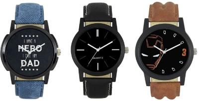 Maan International Combo3-LR-04-05-07 New Stylish Leather Strap Watch  - For Men   Watches  (Maan International)